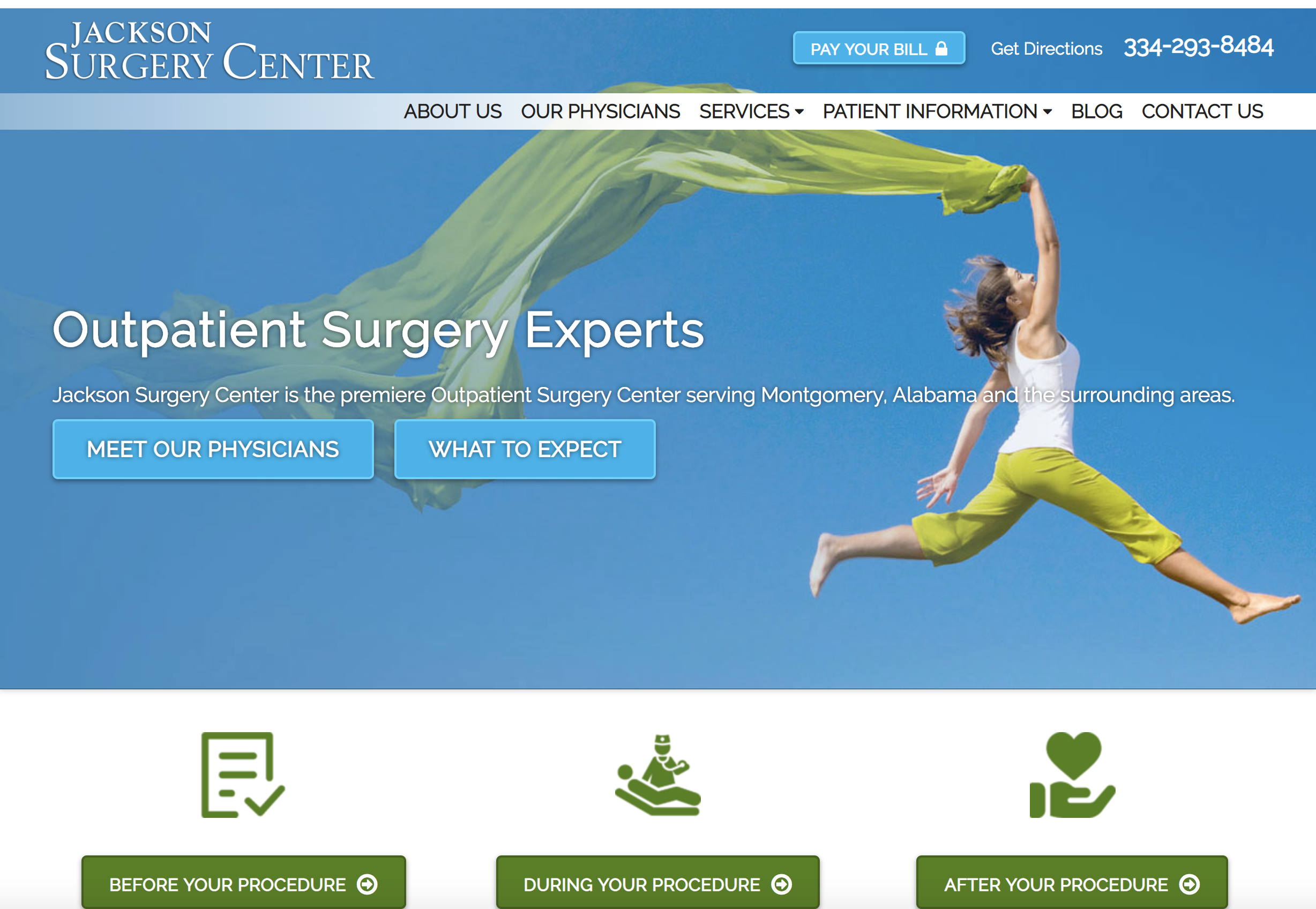 website design outpatient surgery center